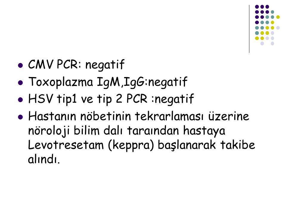 CMV PCR: negatif Toxoplazma IgM,IgG:negatif. HSV tip1 ve tip 2 PCR :negatif.
