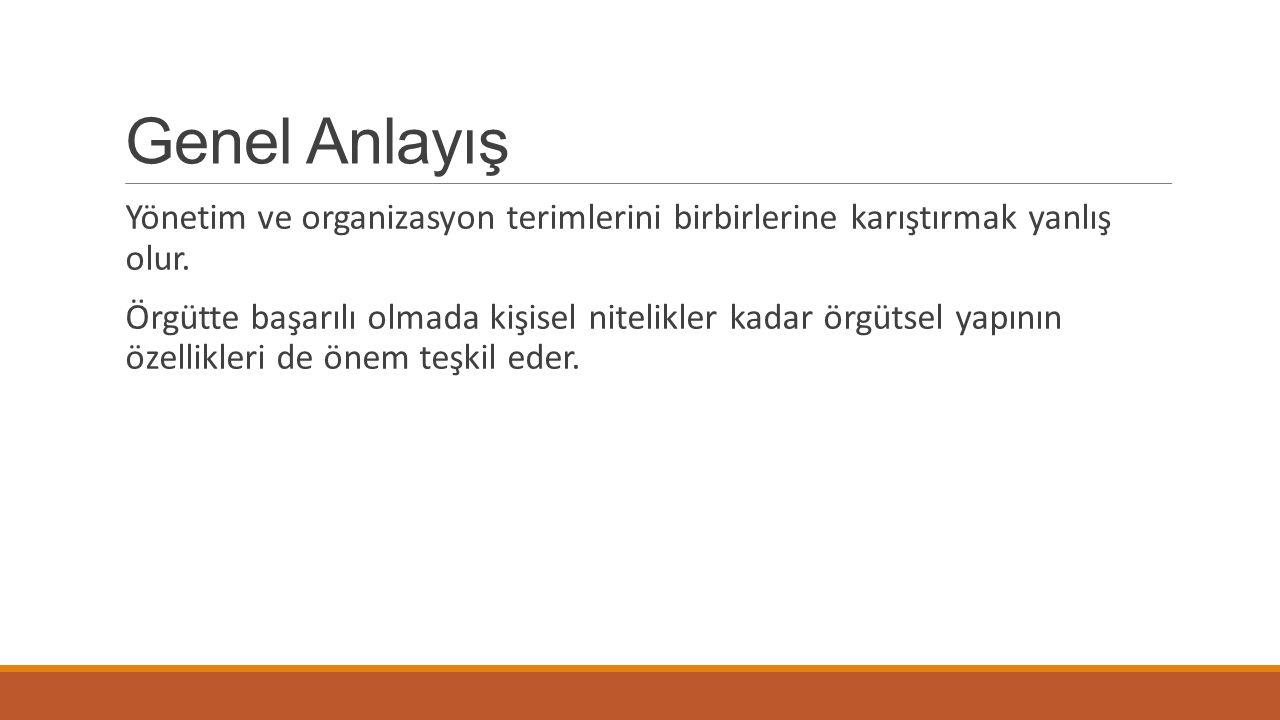 Genel Anlayış Yönetim ve organizasyon terimlerini birbirlerine karıştırmak yanlış olur.