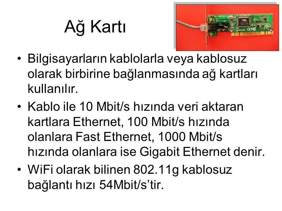 Ağ Kartı Bilgisayarların kablolarla veya kablosuz olarak birbirine bağlanmasında ağ kartları kullanılır.