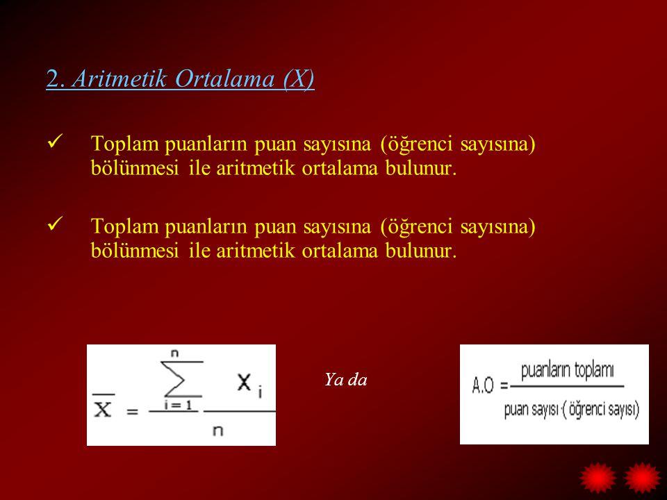 2. Aritmetik Ortalama (X)