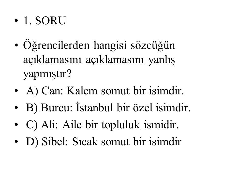 1. SORU Öğrencilerden hangisi sözcüğün açıklamasını açıklamasını yanlış yapmıştır A) Can: Kalem somut bir isimdir.