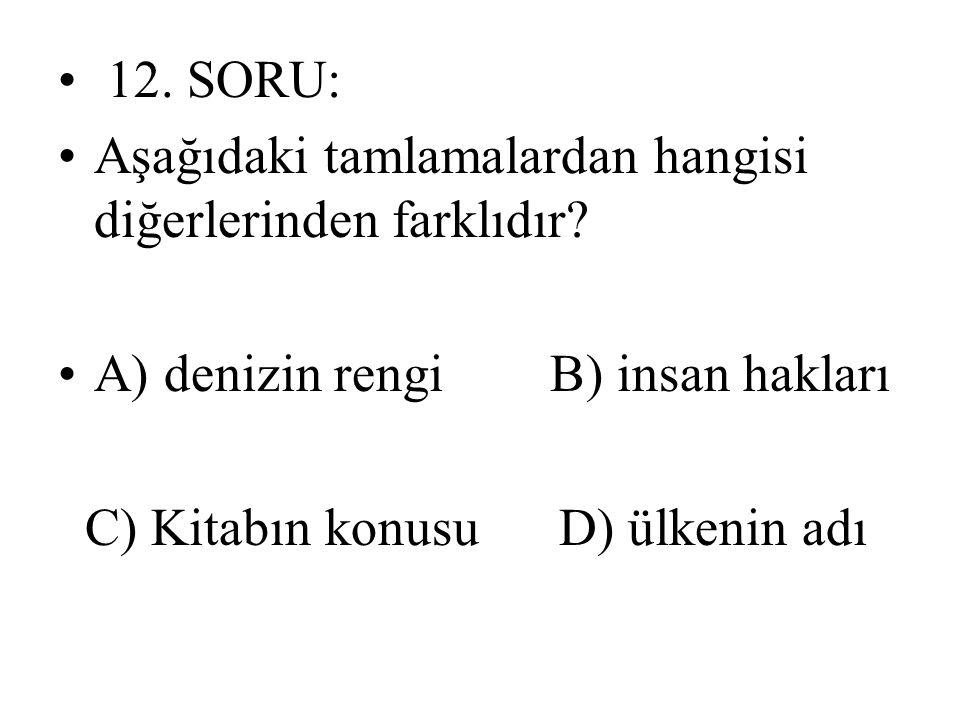 12. SORU: Aşağıdaki tamlamalardan hangisi diğerlerinden farklıdır A) denizin rengi B) insan hakları.