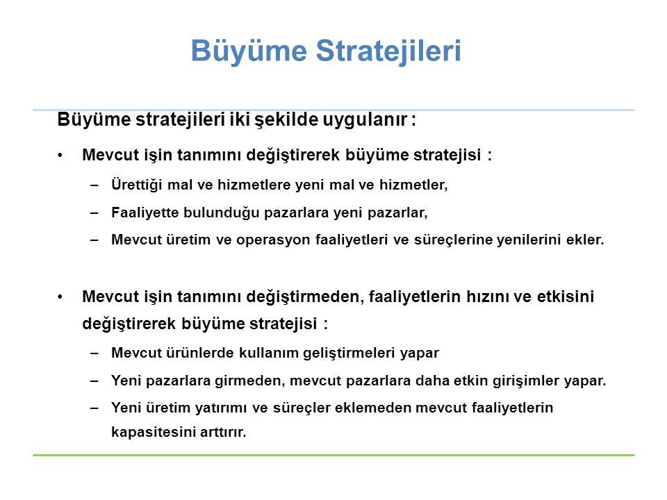 Büyüme Stratejileri Büyüme stratejileri iki şekilde uygulanır :