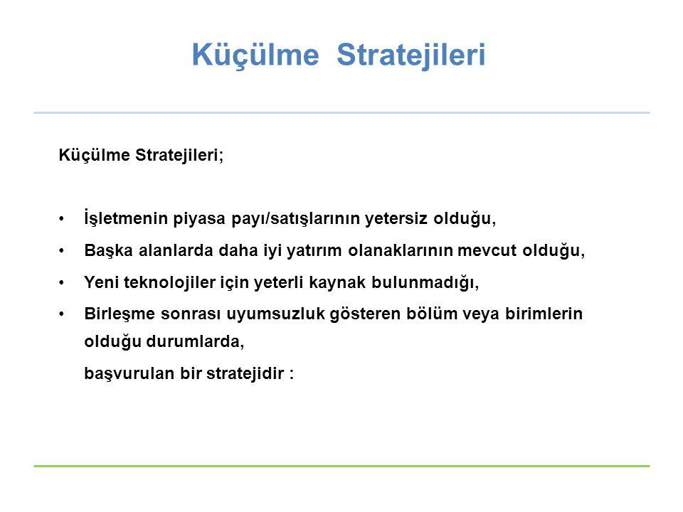 Küçülme Stratejileri Küçülme Stratejileri;