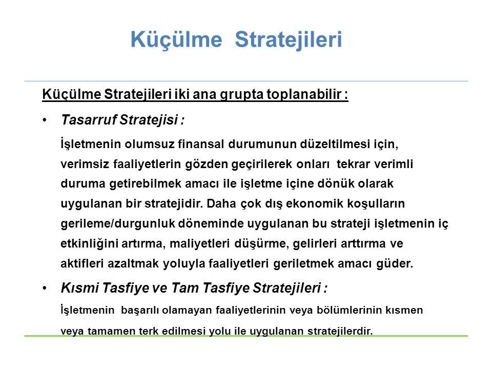 Küçülme Stratejileri Küçülme Stratejileri iki ana grupta toplanabilir : Tasarruf Stratejisi :