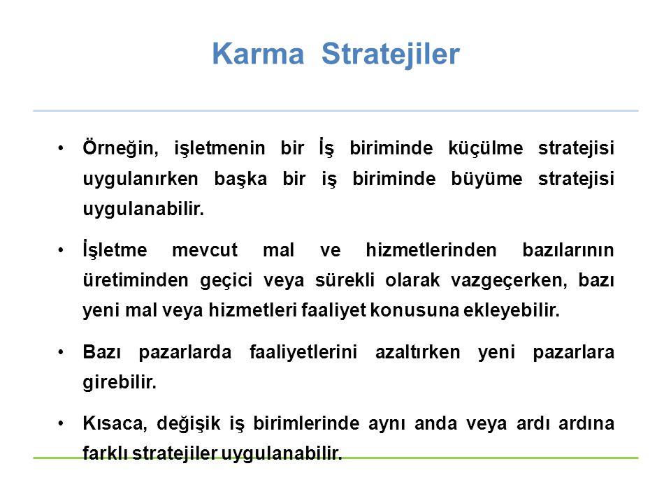 Karma Stratejiler Örneğin, işletmenin bir İş biriminde küçülme stratejisi uygulanırken başka bir iş biriminde büyüme stratejisi uygulanabilir.
