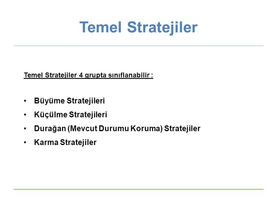Temel Stratejiler Büyüme Stratejileri Küçülme Stratejileri