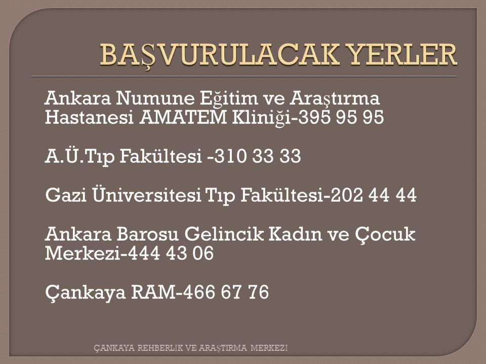 BAŞVURULACAK YERLER Ankara Numune Eğitim ve Araştırma Hastanesi AMATEM Kliniği-395 95 95. A.Ü.Tıp Fakültesi -310 33 33.
