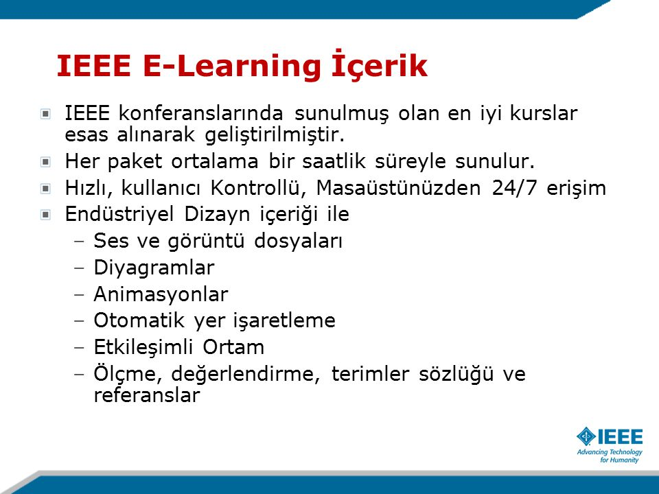 IEEE E-Learning İçerik