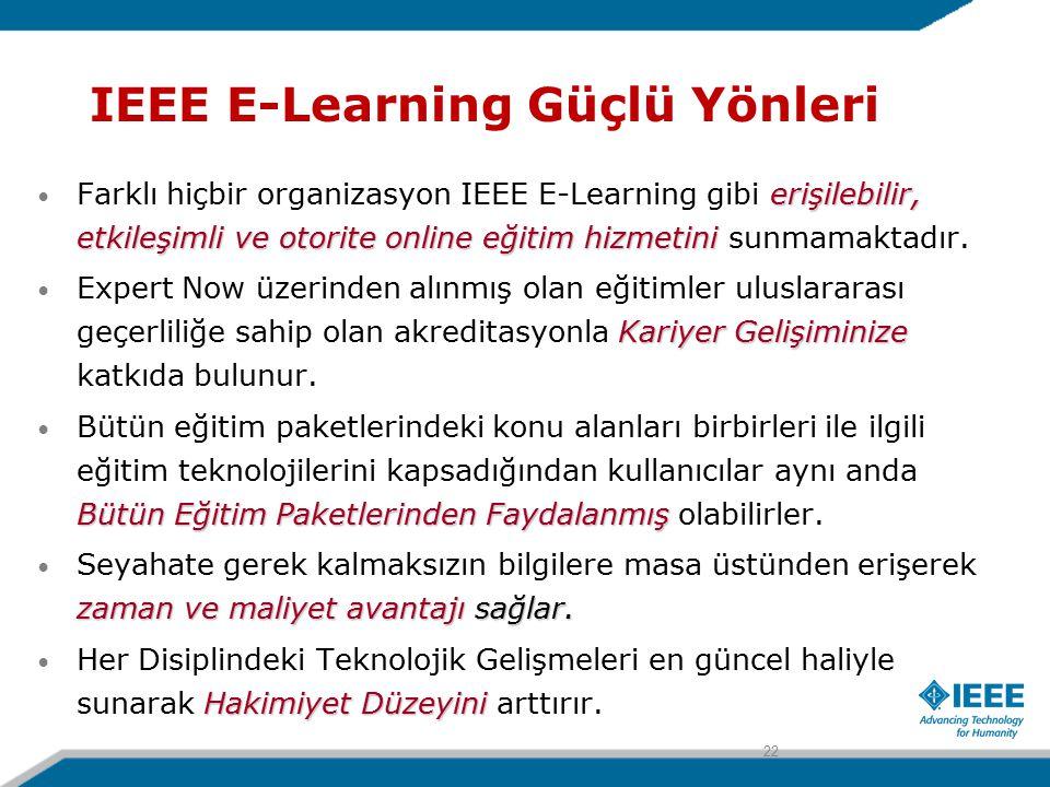 IEEE E-Learning Güçlü Yönleri