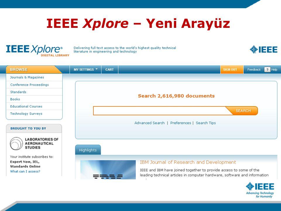 IEEE Xplore – Yeni Arayüz