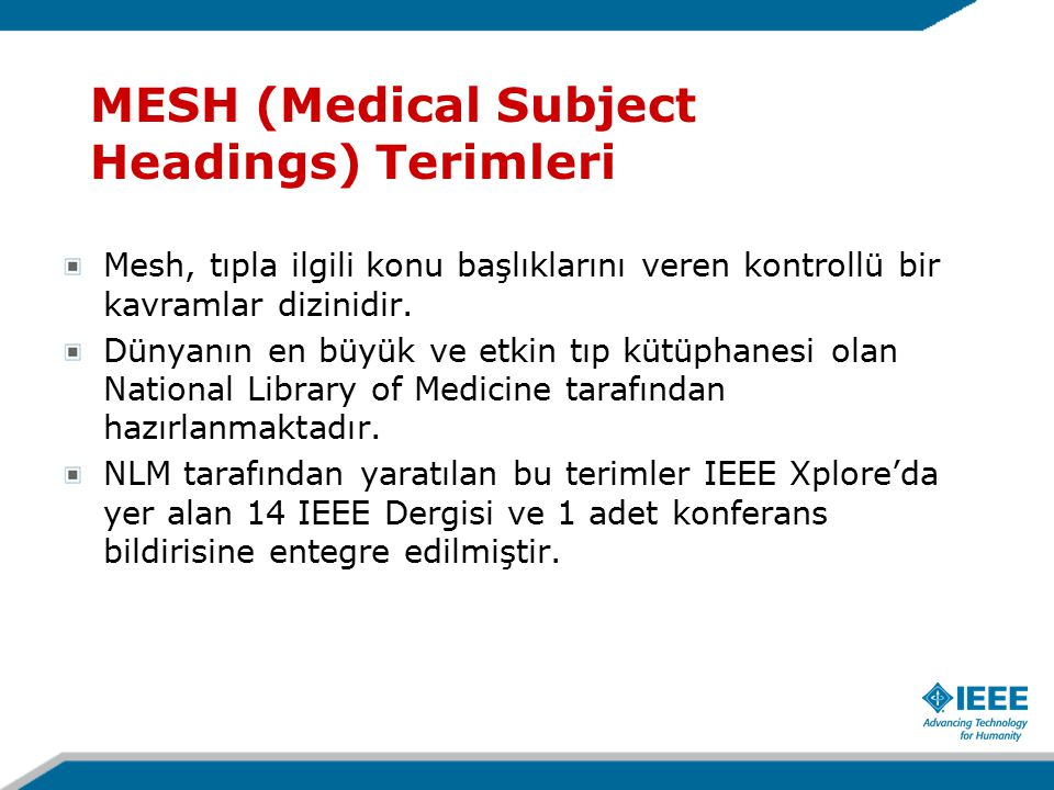 MESH (Medical Subject Headings) Terimleri