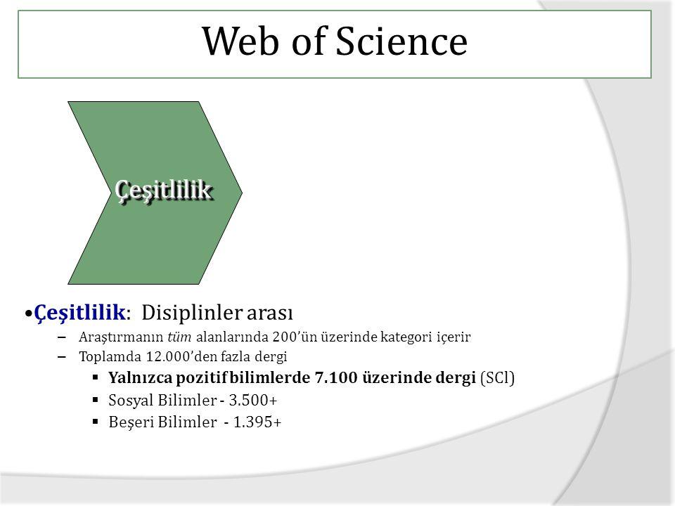 Web of Science Çeşitlilik Çeşitlilik: Disiplinler arası
