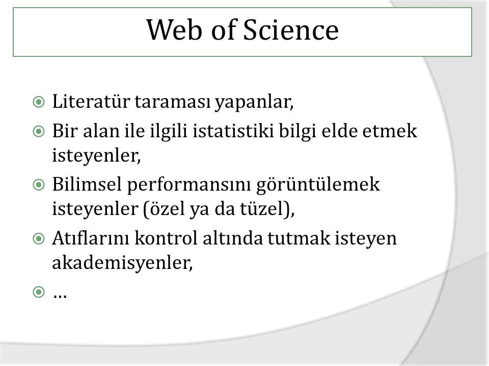 Web of Science Literatür taraması yapanlar,