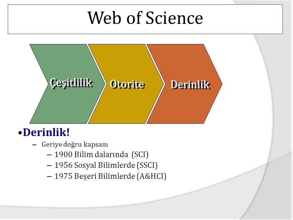 Web of Science Çeşitlilik Otorite Derinlik Derinlik!