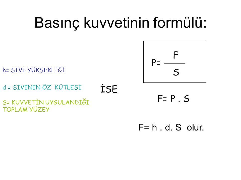 Basınç kuvvetinin formülü: