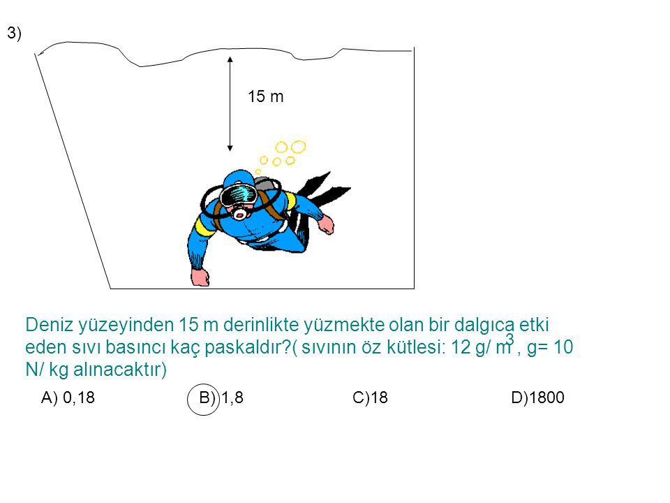 3) 15 m.