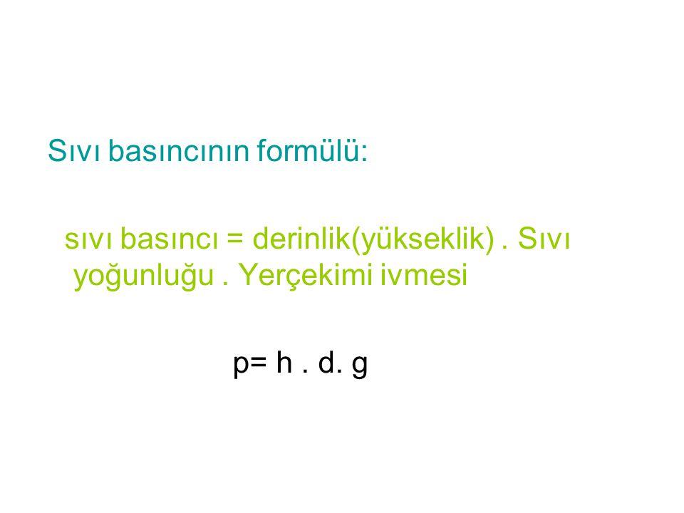 Sıvı basıncının formülü: