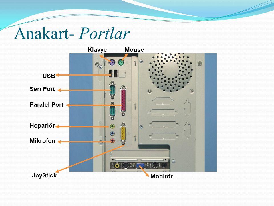 Anakart- Portlar Klavye Mouse USB Seri Port Paralel Port Hoparlör