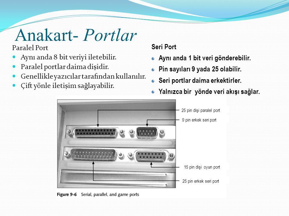Anakart- Portlar Paralel Port Aynı anda 8 bit veriyi iletebilir.