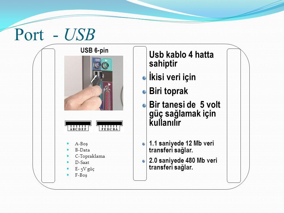 Port - USB Usb kablo 4 hatta sahiptir İkisi veri için Biri toprak