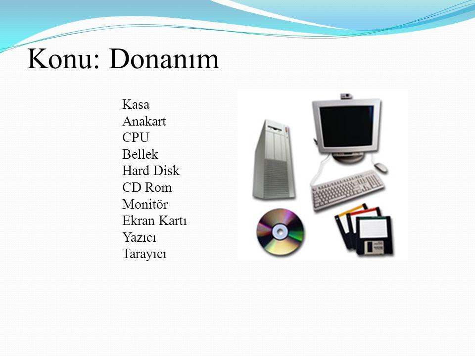 Konu: Donanım Anakart CPU Bellek Hard Disk CD Rom Monitör Ekran Kartı