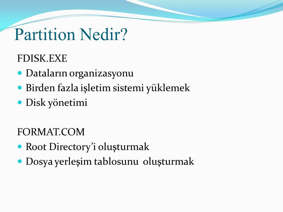 Partition Nedir FDISK.EXE Dataların organizasyonu