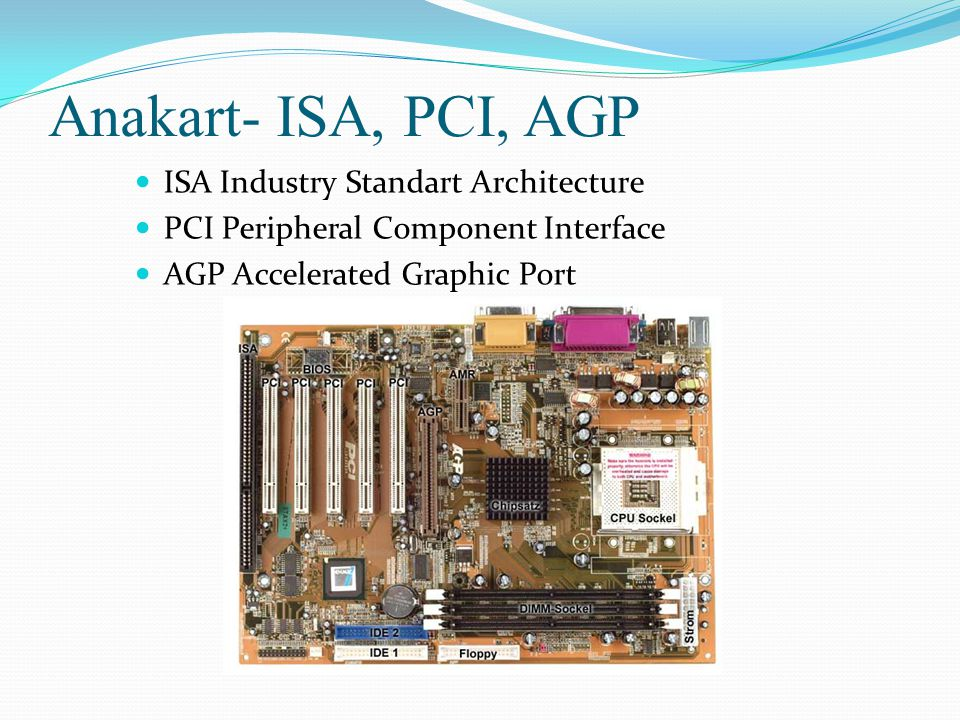 Anakart- ISA, PCI, AGP ISA Industry Standart Architecture
