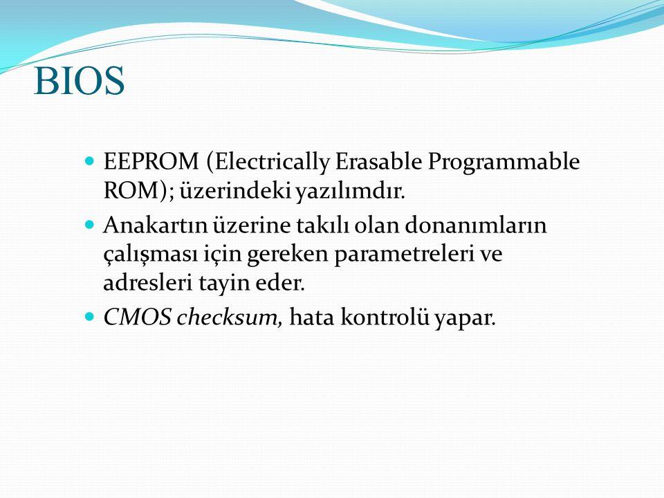 BIOS EEPROM (Electrically Erasable Programmable ROM); üzerindeki yazılımdır.