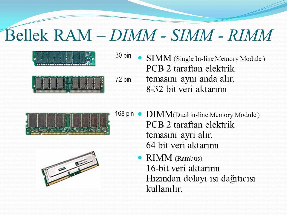 Bellek RAM – DIMM - SIMM - RIMM