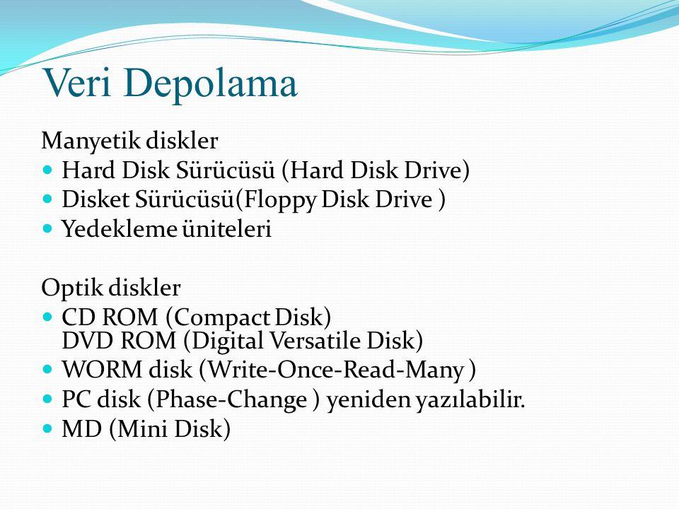Veri Depolama Manyetik diskler Hard Disk Sürücüsü (Hard Disk Drive)
