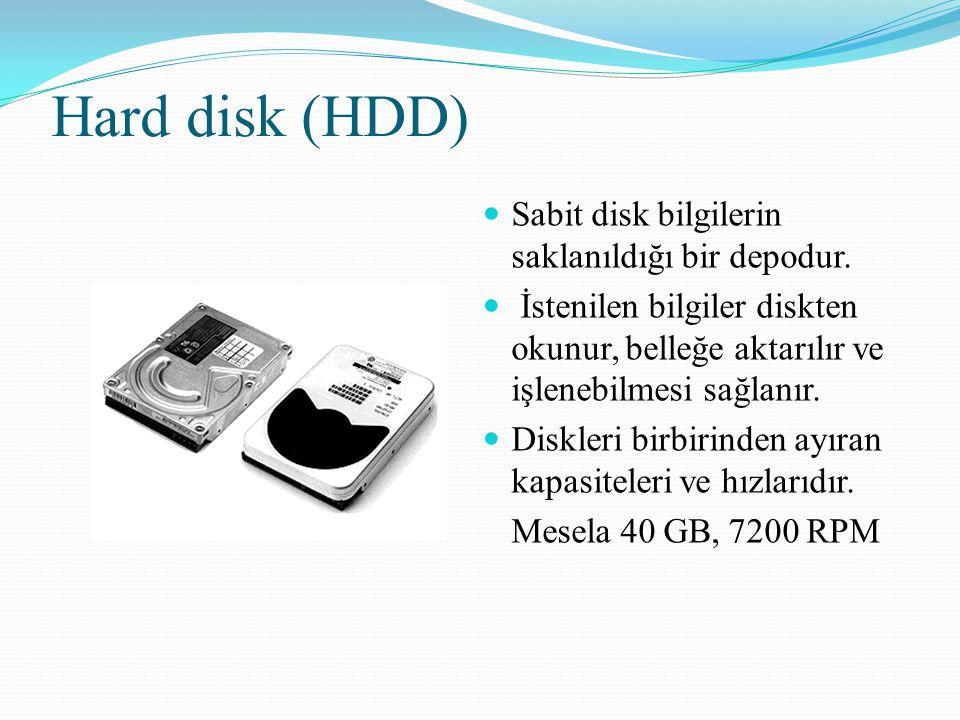 Hard disk (HDD) Sabit disk bilgilerin saklanıldığı bir depodur.