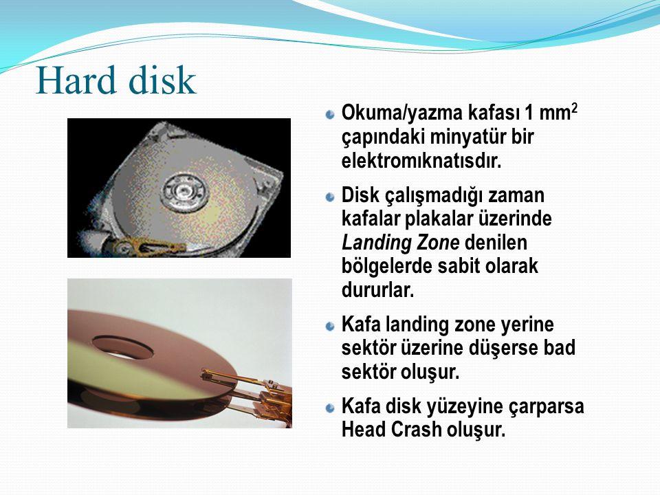 Hard disk Okuma/yazma kafası 1 mm2 çapındaki minyatür bir elektromıknatısdır.