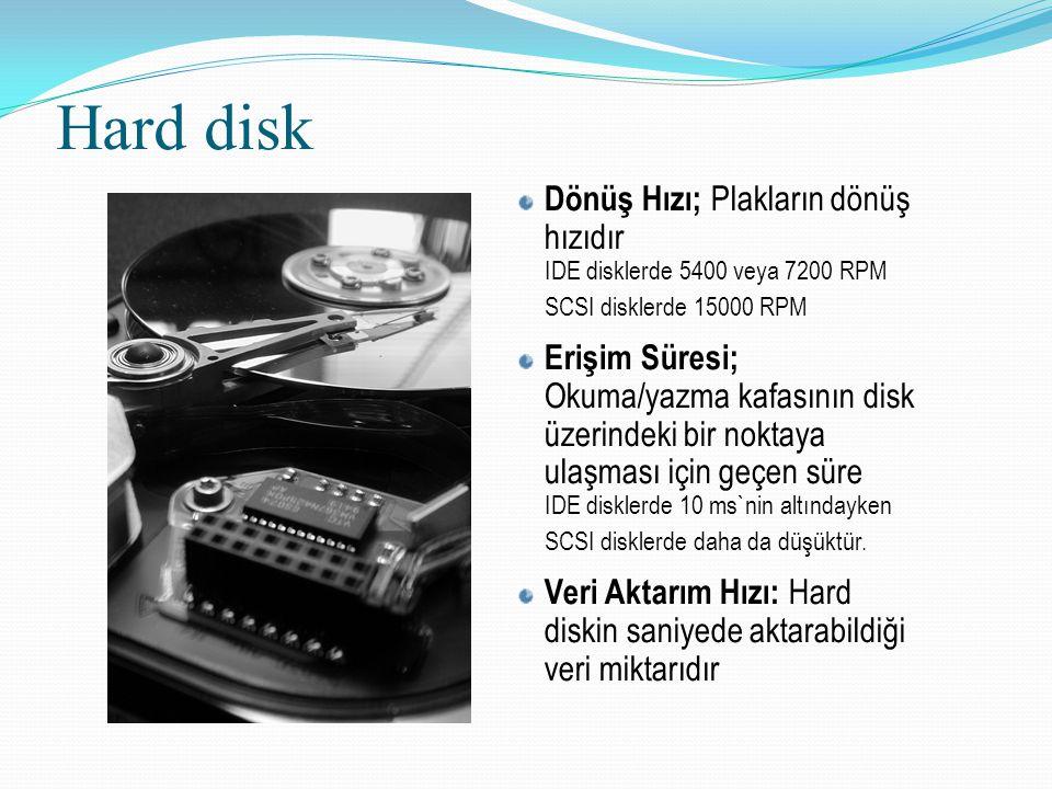 Hard disk Dönüş Hızı; Plakların dönüş hızıdır IDE disklerde 5400 veya 7200 RPM SCSI disklerde 15000 RPM.
