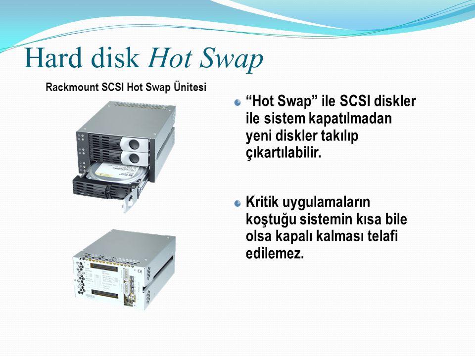 Hard disk Hot Swap Rackmount SCSI Hot Swap Ünitesi. Hot Swap ile SCSI diskler ile sistem kapatılmadan yeni diskler takılıp çıkartılabilir.