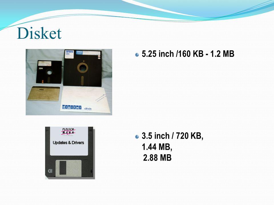 Disket 5.25 inch /160 KB - 1.2 MB 3.5 inch / 720 KB, 1.44 MB, 2.88 MB