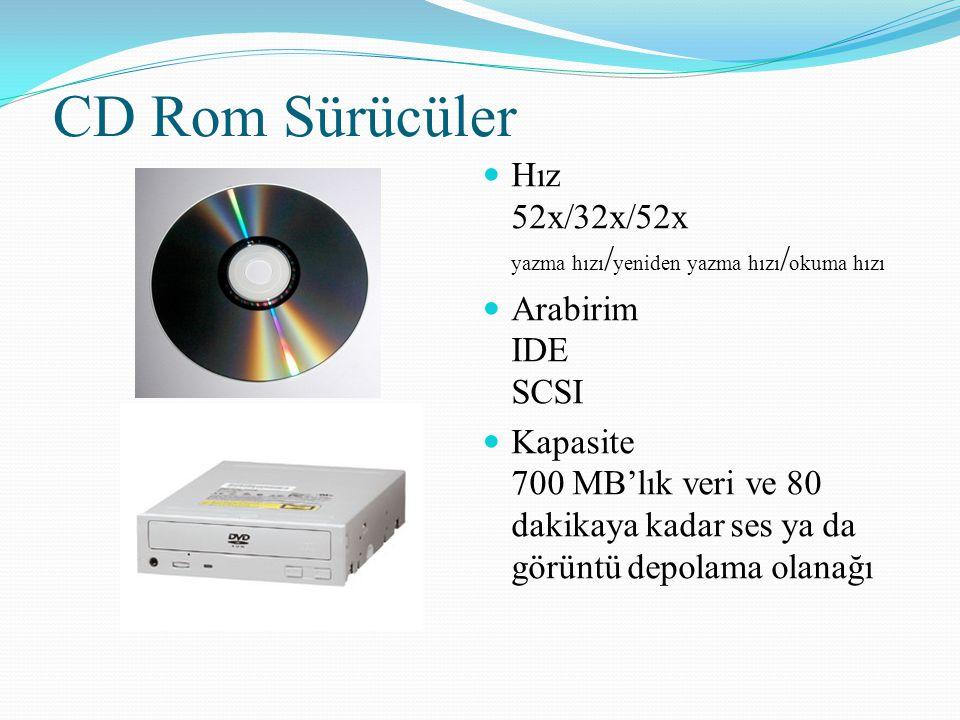 CD Rom Sürücüler Hız 52x/32x/52x yazma hızı/yeniden yazma hızı/okuma hızı. Arabirim IDE SCSI.