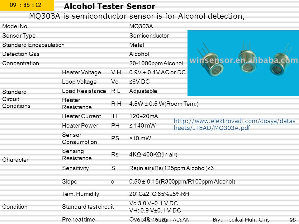MQ303A is semiconductor sensor is for Alcohol detection,