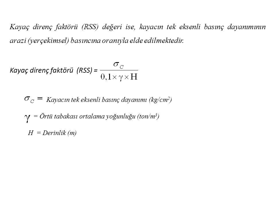 Kayaç direnç faktörü (RSS) =