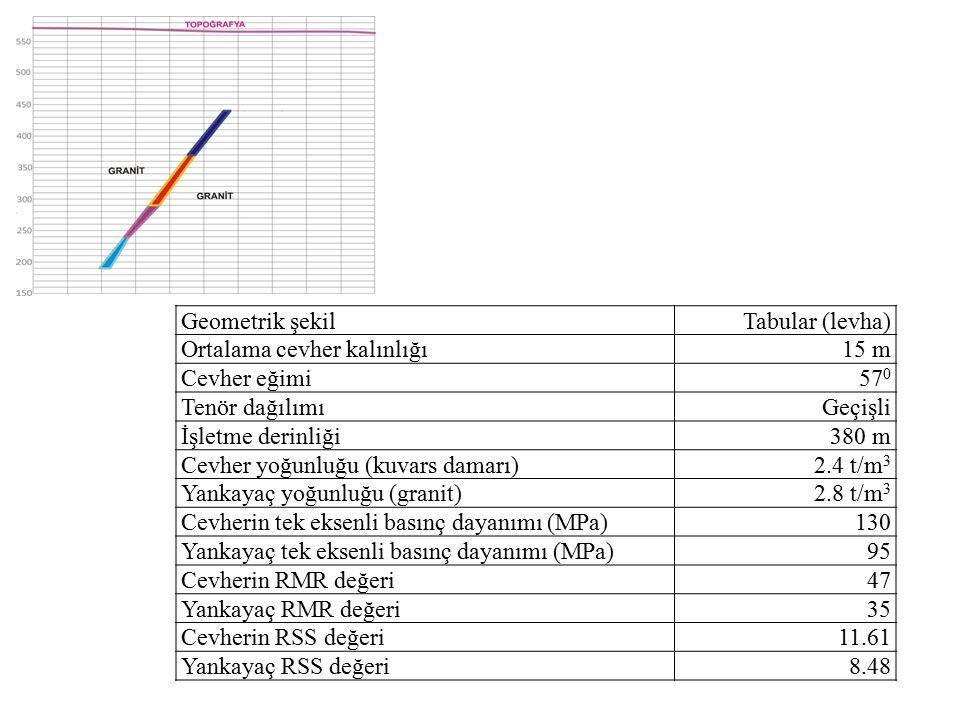 Geometrik şekil Tabular (levha) Ortalama cevher kalınlığı. 15 m. Cevher eğimi. 570. Tenör dağılımı.