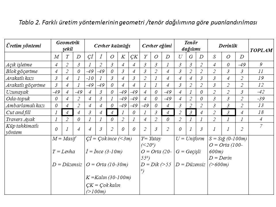Tablo 2. Farklı üretim yöntemlerinin geometri /tenör dağılımına göre puanlandırılması