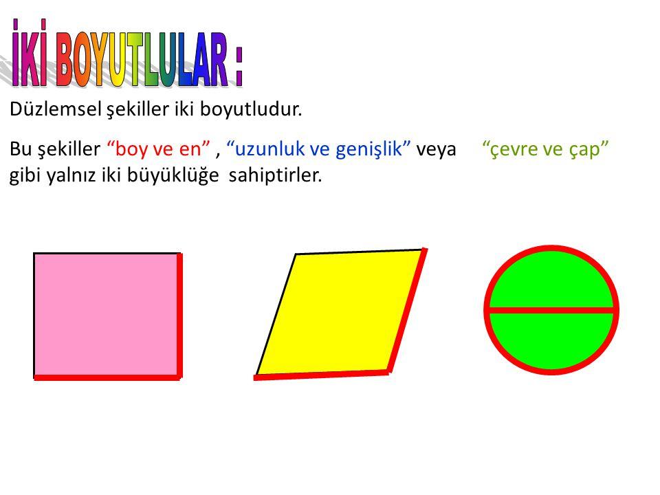 İKİ BOYUTLULAR : Düzlemsel şekiller iki boyutludur.