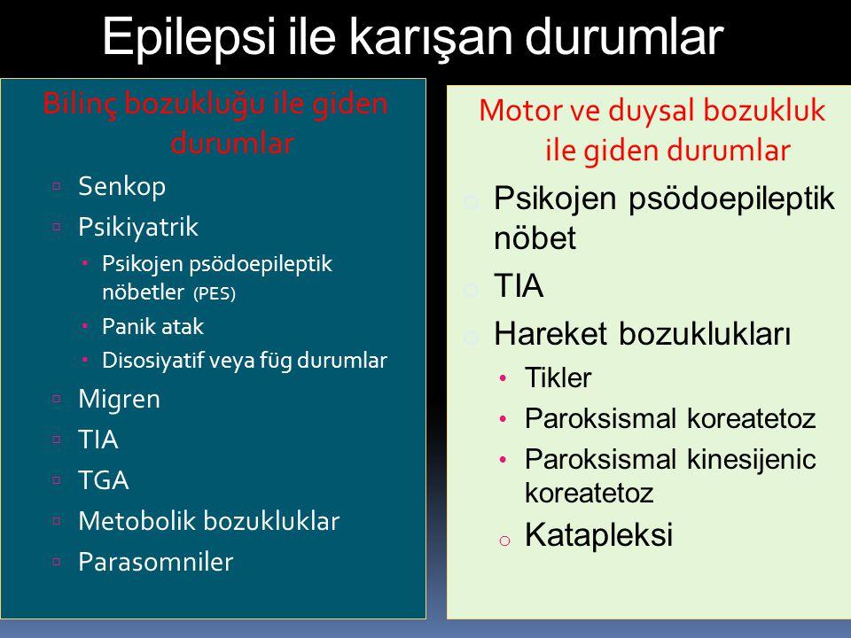 Epilepsi ile karışan durumlar