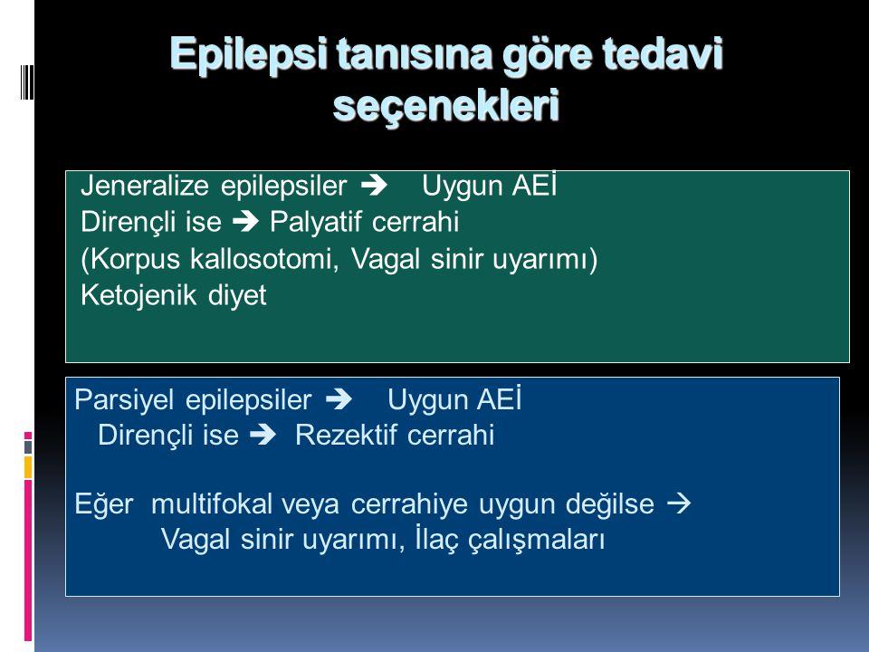 Epilepsi tanısına göre tedavi seçenekleri