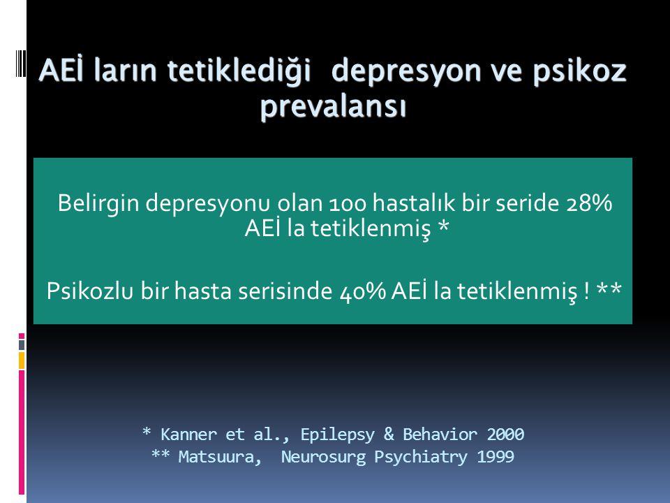 AEİ ların tetiklediği depresyon ve psikoz prevalansı