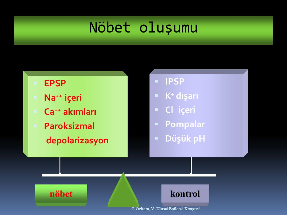 Nöbet oluşumu IPSP K+ dışarı Cl_ içeri Pompalar Düşük pH EPSP