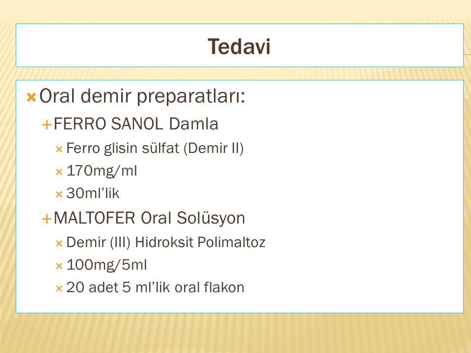 Tedavi Oral demir preparatları: FERRO SANOL Damla