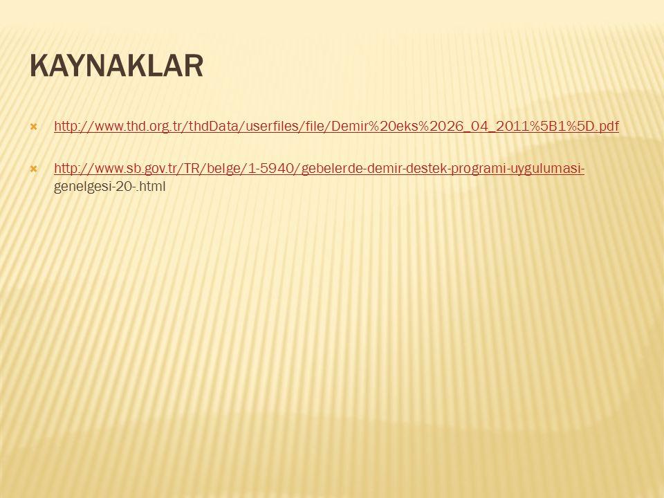 KAYNAKLAR http://www.thd.org.tr/thdData/userfiles/file/Demir%20eks%2026_04_2011%5B1%5D.pdf.