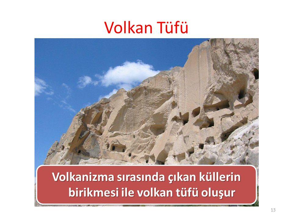 Volkanizma sırasında çıkan küllerin birikmesi ile volkan tüfü oluşur