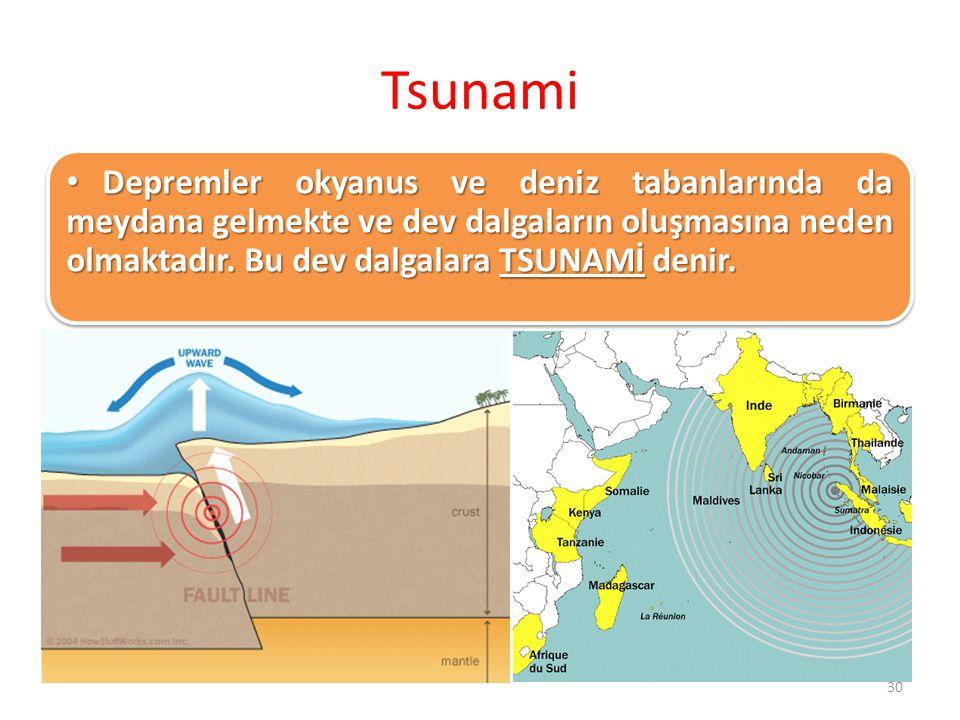 Tsunami Depremler okyanus ve deniz tabanlarında da meydana gelmekte ve dev dalgaların oluşmasına neden olmaktadır.